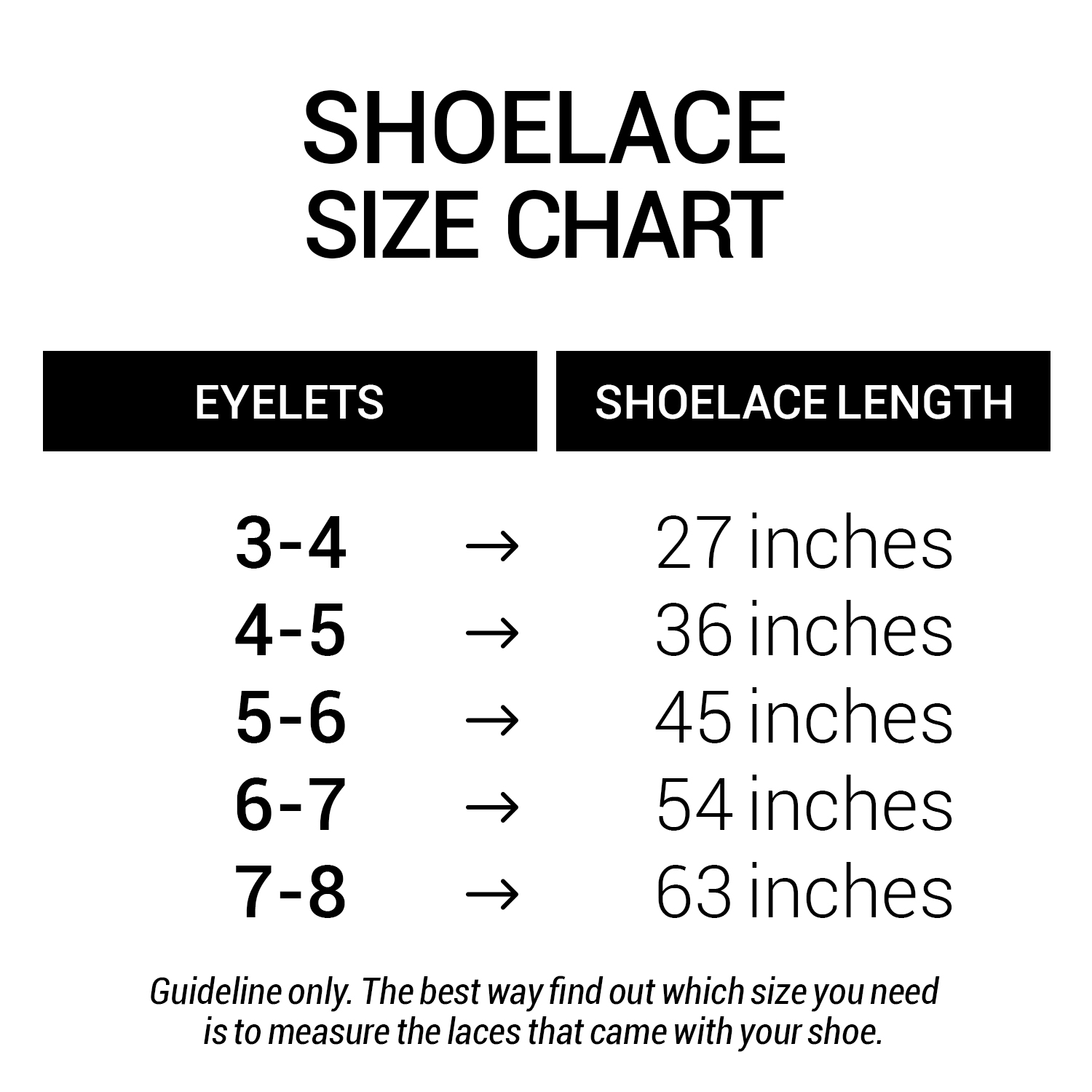Flat Round Oval Laces Size Chart